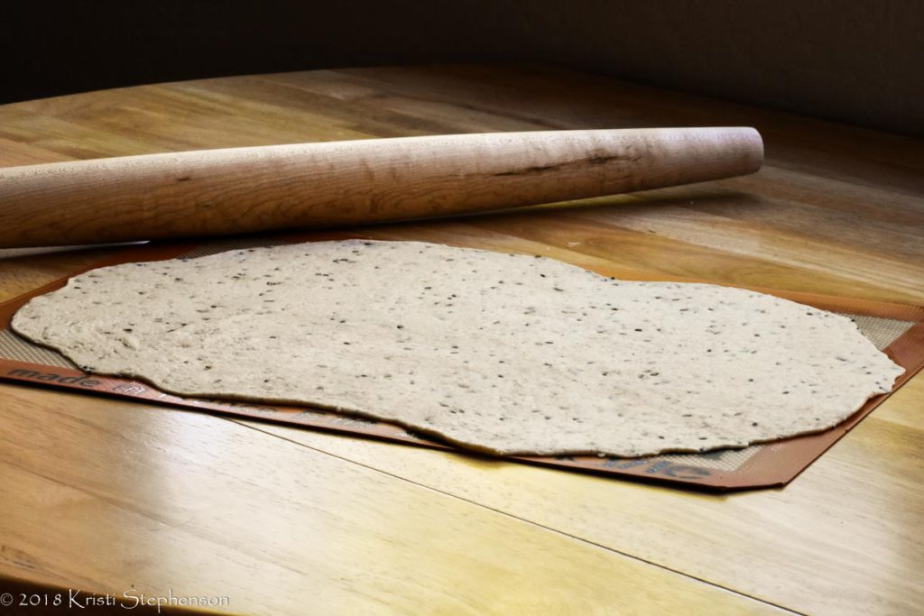 Cracker dough, rolled out