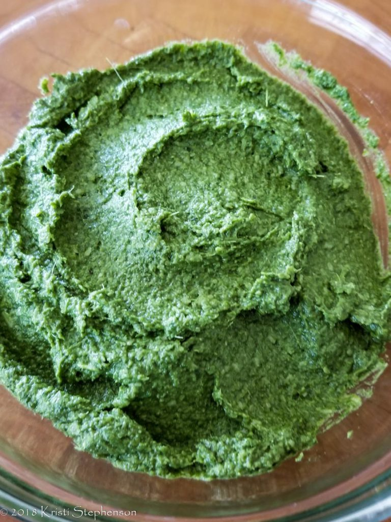 carrot top pesto finished