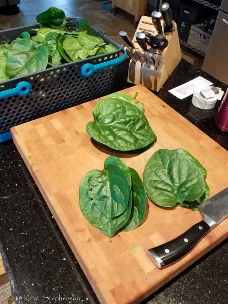 Malabar spinach - prep